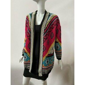 Flying Tomato Womens Cardigan Sweater Pink Aztec L